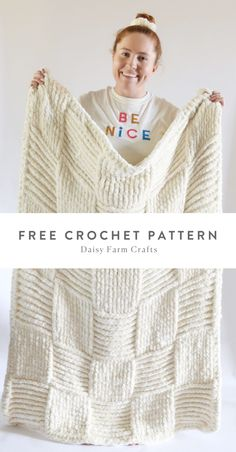 Crochet Giant Basketweave Throw in Velvet Plus by Daisy Farm Crafts.
