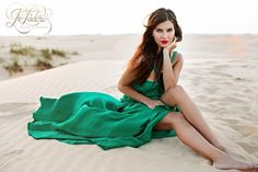 Texas Fashion and glamour photography, lubbock photographer, jetadore beauty and boudoir, green dress, sand dunes