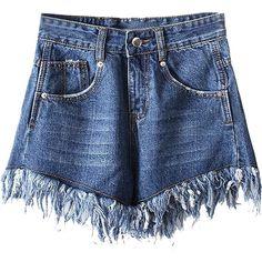 Dark Blue High Waist Raw Edge Hem Washed Denim Shorts ($34) ❤ liked on Polyvore featuring shorts, high rise denim shorts, denim shorts, zipper pocket shorts, high-waisted jean shorts and dark blue jean shorts