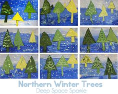 January Lesson Teaching-perspective-with-trees Deep Space Sparkle winter landscape lesson for kindergarten first grade elementary art education