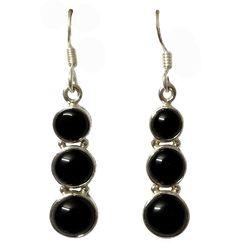 Three Step Round Black Onyx Hanging On 925 Sterling Silver Hoop Earring #Articulate #Hoop