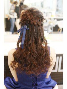 ヘアメイクアンドフォトスタジオ ラフ(Luff) 編み込みハーフアップ Creative Hairstyles, Unique Hairstyles, Everyday Hairstyles, Pretty Hairstyles, Wedding Hairstyles, Loose Curls Hairstyles, Kawaii Hairstyles, Hairstyles Haircuts, Lolita Hair
