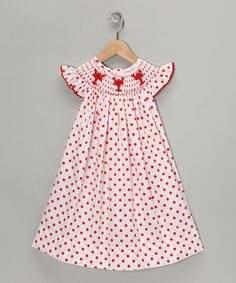 Take a look at this White & Red Smocked Dress - Infant, Toddler & Girls  by Castles & Crowns: Dresses on #zulily today!
