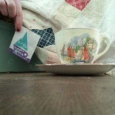 First cupa of the day @devonshiretea  #mylifeinteacups #earlgrey . Hoping to get to my little desk for some making and creating today . Very excited  as new things are fluttering in my head ready to come out. #mycreativebusiness #patchworkskirt mum made.  @simplethingsmag #tea #mylifeinteacups #bodkinkits #bestchina  #friday #momentofmyday .