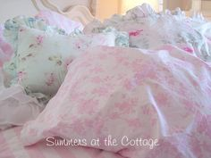 FULL PINK TOILE ROSES ON WHITE SHEET SET SHABBY COTTAGE CHIC