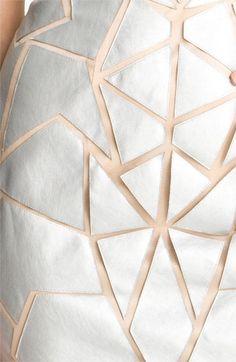 Aidan Mattox Geometric Appliqué Tulle Sheath Dress | Nordstrom / Geometric metallic skirt