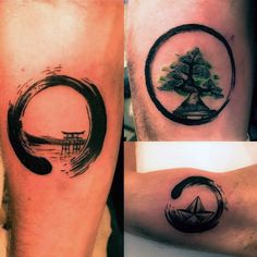 Cool Small Simple Mens Enso Tattoos