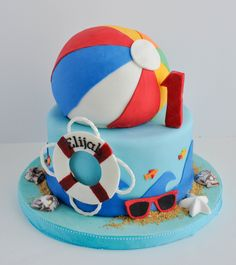 Beach Ball Cake! Perfect for summer :)