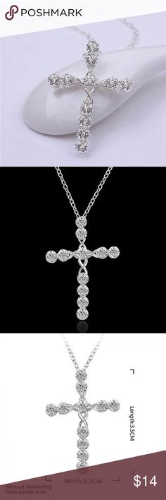 🙏 Gorgeous Rhinestone and Silver Cross Silver and rhinestones sparkling from this lovely statement piece. Wonderful for Easter. Jewelry Necklaces