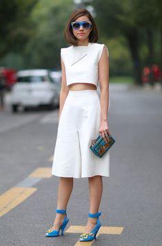 look cropped calça culotte total branco