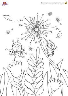 A colorier, 2 jolies petites coccinelles qui s'amusent dans le jardin