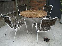 Vintage Retro MCM Teak Danish Garden Table and Chairs Daneline 1960s 1950s