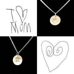 Turn kid's art into jewellery. Stainless steel and sterling silver. Great personalized gifts for parents and grandparents!