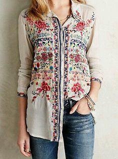 Awesome embroidered shirt #fashion #boho #want