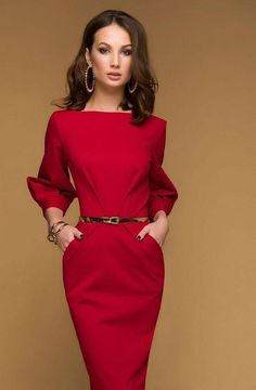 8a67b61588a3c47 Simple Red MIDI Dress.Day Dress With Pockets.Jersey Dress Spring.Straight  Silhouette