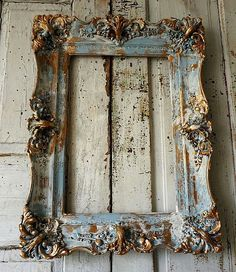 Distressed picture frame wall hanging ornate wood and gesso
