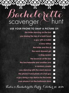 Flirty, wild Bachelorette Scavenger Hunt Checklist - Bachelorette Party Game Ideas