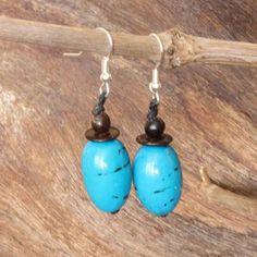 Light Blue Earrings  Coconut Earrings  Fair by ArtisansintheAndes