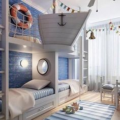 Rustic Italian Decor Bedroom: Nautical Room Design Ideas For Your Kid Cool Kids Rooms, Room For Two Kids, Creative Kids Rooms, Boat Beds For Kids, Creative Ideas, Cool Boys Room, Creative Storage, Bunk Rooms, Boys Bedroom Ideas With Bunk Beds