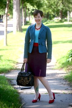 Already Pretty outfit featuring teal blazer, turquoise tank, red sash, purple pencil skirt, red suede pumps, leopard print bag