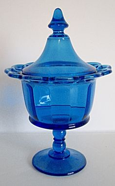 Vintage Imperial Glass Blue Laced Edge Compote 1940s