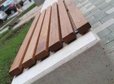 Resin Furniture, Urban Furniture, Street Furniture, Timber Slats, Timber Wood, Garden Wall Designs, Concrete Bench, Wood Architecture, Bench Designs