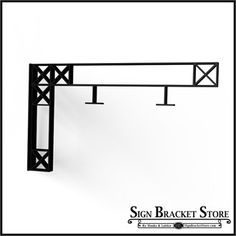 "Fixed Mount Sign Bracket | 54"" Heavy Duty Crosshatch Truss Design Fixed Mount Sign Bracket - perfect for under eaves, awnings or use as an indoor bracket to save space in low clearance areas."