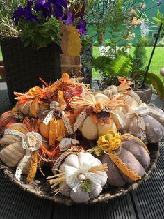 Fabric Pumpkins, Fall Pumpkins, Pumpkin Picking, Welcome Fall, Gourd Art, Fall Decorating, Gourds, Halloween, Creativity