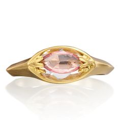 Lovely ring by Alberian & Aulde.  18ct Yellow Gold ring with a sparkling Pink Marquis shape Sapphire set above a White Rose cut Marquis Sapphire.