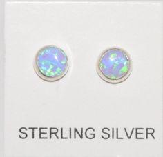 Opal Earrings Lab Gemstone Studs Sterling Silver Periwinkle Green 5mm Round