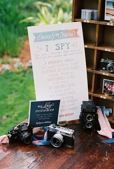 """Brides.com: . Have your guests play ice-breakers before the reception like this """"I Spy"""" Instagram scavenger hunt, where guests snap pictures and post the couples' hashtag."""