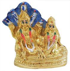 Lakshmi Narayan Sitting under Sheshnag (Brass)