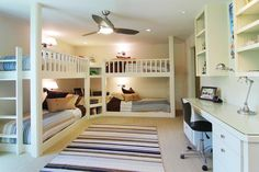 Spacious bedroom with built-in bunk beds and desks. Would be great for a larger play room for sleepovers. Bunk Beds Built In, Bunk Bed With Desk, Bunk Beds With Stairs, Girl Bedroom Designs, Kids Bedroom, Dreams Beds, Building A New Home, Loft Spaces, House Rooms