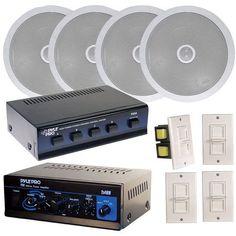 Pyle Home Deluxe Full Amplifier/Speaker Package (8) 6.5'' Speakers, Speaker Selector, Amplifier & 4 Volume Controls