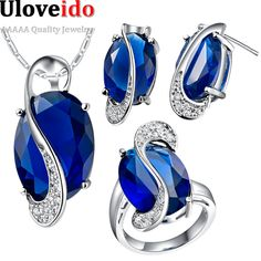 Find More Jewelry Sets Information about Uloveido Sapphire Jewelry Sets Necklace Earrings Ring Crystal Jewelry Wedding Jewelry for Women Valentine's Day Rhinestone T472,High Quality jewelry bubbles,China jewelry italy Suppliers, Cheap jewelry cosplay from D&C Fashion Jewelry Buy to Get a Free Gift on Aliexpress.com