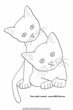 Cute Kitten Biting It& tail Coloring Pages For Grown Ups, Free Adult Coloring Pages, Cat Coloring Page, Animal Coloring Pages, Colouring Pages, Coloring Books, Kitten Biting, Gatos Cool, Cat Doodle