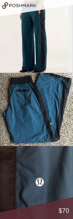 "Lululemon Right Round lined track pants Excellent condition. No stains, holes, or tears. Super warm as these are lined. 2 pockets in the front, 2 pockets in the back, elastic pulls on bottom of pants to adjust width of pants. Stretch Glyde fabric - finished with DWR - Size dot confirmed as a size 4, inseam 33"", waist 14"" 13.5-14"" across on waist lululemon athletica Pants Track Pants & Joggers"