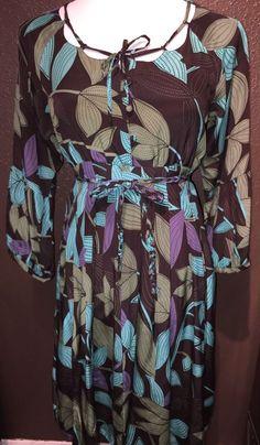 Jill Stuart Brown Blue Green Silk Pleated Dress 6 #JillStuart #PleatedSkirt