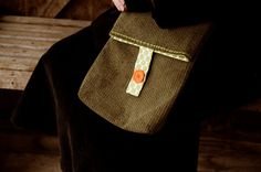 Cross Body Handbag  Olive Green Jumbo Cord  by moodycowdesigns, $37.00