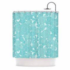 "Julia Grifol ""Turquoise Birds"" Aqua Blue Shower Curtain"