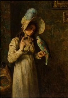 Henry Mosler, American (1841-1920) Girl With Parrot 1904