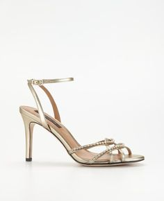 For the bridesmaids Strappy Gold Wedding Shoes pink and gold