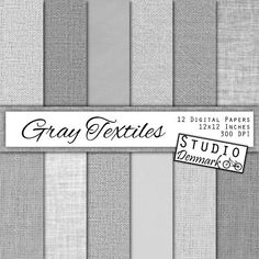 Gray Textiles Linen / Canvas / Burlap Digital Paper - 12 Gray Textures - Commercial Use - 12in x 12in 300 dpi jpg - Instant Download