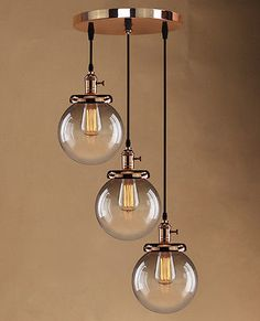 Retro Vintage Cluster Hanging Ceiling Lights Globe 3 Glass Shades Pendant Lamp in Home, Furniture & DIY, Lighting, Ceiling Lights & Chandeliers Retro Ceiling Lights, Hanging Ceiling Lights, Room Lights, Ceiling Canopy, Bathroom Pendant Lighting, Chandelier Lighting, Pendant Lamp, Chandeliers, Lounge Lighting