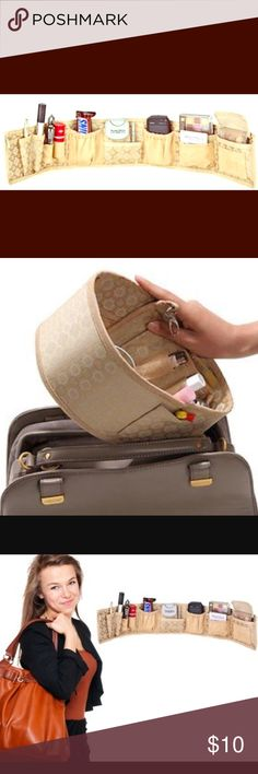 Purse Brite handbag organizer Made of soft, tan faux suede  Organize and see everything in your purse, comes with 10 expandable and retracting pockets for your keys, glasses, cell phone, makeup etc....keeps most of the items in plain sight.  You can change purses in minutes without having to dump your things out. great for gym bags, diaper bags, tote bags. wraps around to fit any size handbag. Sturdy, lightweight, fabric construction. Faux suede trim and pockets. Approximate dimensions: 24…