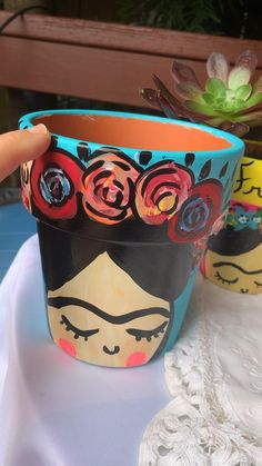 Is for sale in San Francisco only for Mother's day! I take Venmo as a payment! Thanks for supporting my artwork! Painted Plant Pots, Painted Flower Pots, Hand Painted Rocks, Pottery Painting Designs, Paint Designs, Flower Pot Art, Diy Flower, Kahlo Paintings, Bijoux Diy
