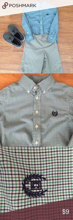 Boys Chaps Shirt Blue and green print- excellent condition! Chaps Shirts & Tops Button Down Shirts