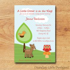 Printable Baby Shower Invitation - Woodland Critters Digital Card. $15.00, via Etsy.