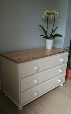 Pine chest of drawers painted in Annie Sloan Old Ochre lightly distressed and waxed & top sanded and waxed