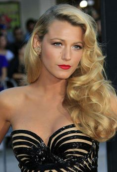 Blake Lively's red lip and soft curls are always a classy, beautiful look.